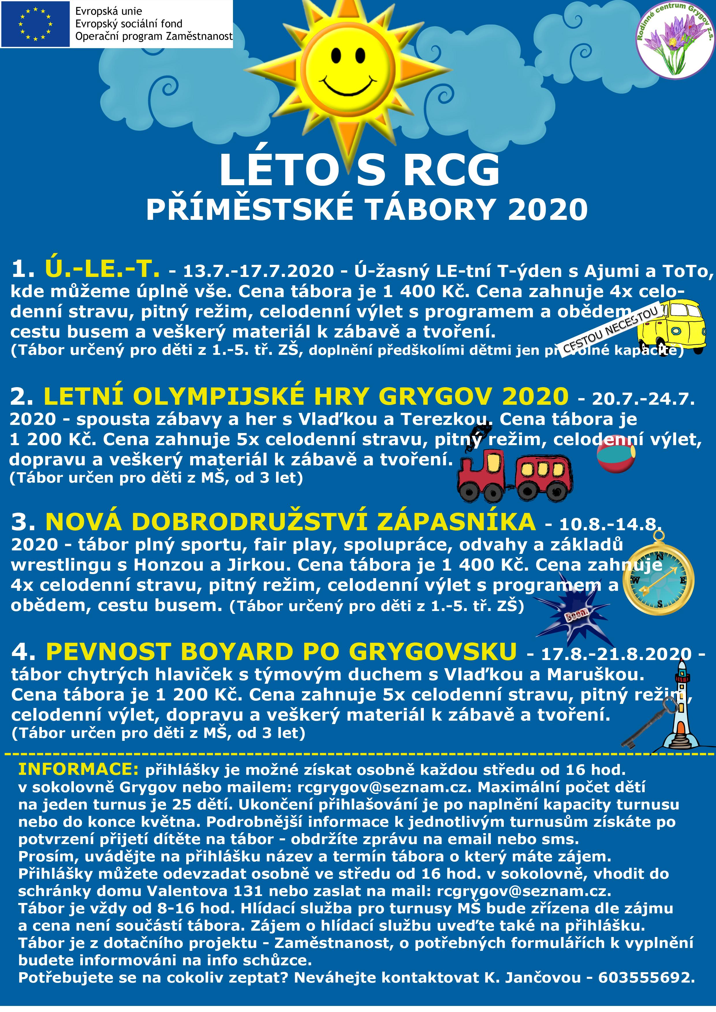 LÉTO S RCG – Příměstské tábory 2020
