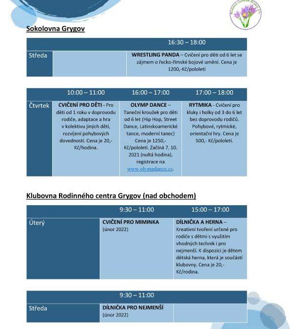Program rodinného centra 2021/2022
